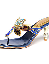 Women's Sandals Comfort Novelty Summer Fall Synthetic Microfiber PU Walking Shoes Casual Dress Rhinestone Low Heel Black Blue 2in-2 3/4in