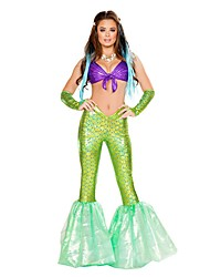 Disfraces de Cosplay Cola de Sirena Cuento de Hadas Cosplay Festival/Celebración Disfraces de Halloween Cosecha Tops Pantalones Bolso de