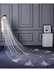 Wedding Veil One-tier Elbow Veils Cathedral Veils Cut Edge Lace Applique Edge Lace Tulle Champagne Ivory
