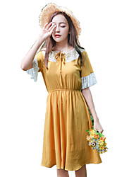 Women's Casual/Daily Loose Dress,Solid Round Neck Knee-length Short Sleeve Cotton Summer High Rise Inelastic Sheer