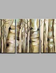 Peint à la main Botanique Artistique Abstrait Inspiré de la nature Moderne/Contemporain Bureau / Affaires Noël Nouvel An Trois Panneaux