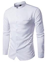Hombre Simple Casual/Diario Primavera Otoño Camisa,Escote Chino Un Color Manga Larga Algodón Medio