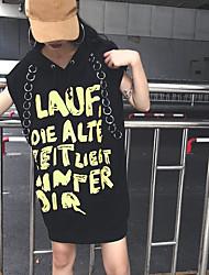 Damen Buchstabe Einfach Ausgehen T-shirt,Mit Kapuze Kurzarm Baumwolle