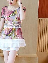 Feminino Blusa Casual Simples Estampado Estampa Colorida Algodão Poliéster Decote Redondo Manga Curta