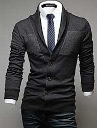 Men's Going out Casual/Daily Street chic Regular Cardigan,Solid Shirt Collar Long Sleeve Polyester Spandex Fall Winter Medium