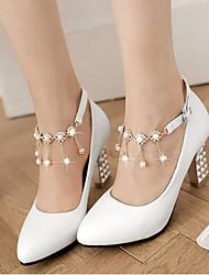 Damen Schuhe PU Herbst Komfort High Heels Mit Für Normal Weiß Blau Rosa