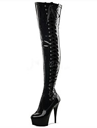 Mujer Botas Botas de Moda PU Invierno Fiesta y Noche Con Cordón Tacón Stiletto Negro 12 cms y Más