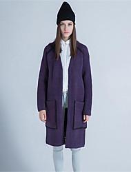 Mujer Largo Cardigan Casual/Diario Simple,Un Color Estampado Escote en Pico Manga Larga Lana Poliéster Otoño Invierno Grueso Microelástico