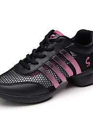 "Women's Dance Sneakers Real Leather Tulle Sneakers Outdoor Sided Hollow Out Flat Black 1"" - 1 3/4"" Customizable"