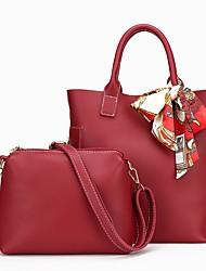 Damen Bag Sets PU Ganzjährig Normal Barrel Bag Reißverschluss Schwarz Rote Grau Braun