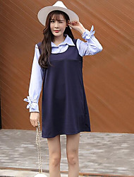 Women's Casual/Daily A Line Dress,Solid Shirt Collar Above Knee Long Sleeve Cotton Spring Mid Rise Inelastic Medium