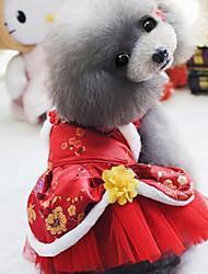 Cachorro Vestidos Roupas para Cães Casamento Ano Novo Bordado Roxo Vermelho
