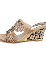 Mujer Zapatos PU Verano Confort Sandalias Tacón Cuña Puntera abierta Con Para Casual Dorado Verde