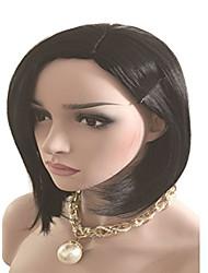 Glueless Full Lace Bob Wigs Brazilian Human Hair Straight For Black Women Side Part Lovely Style