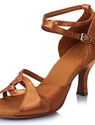 2017 Classic Brand Professional Modern Latin Sandals Customizable Women's Dance Shoes  Heel-Height 6.5CM shoes Brown