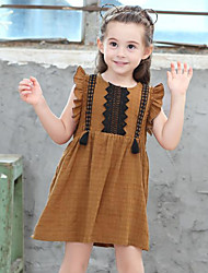 Girl's Cotton Fashion And Lovely  Lace Trim Lotus Leaves Holiday Leisure And Pure Cotton - Sleeved Princess Dress