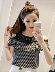 Women's Going out Simple Blouse,Polka Dot Striped Round Neck Short Sleeves Cotton Polyester
