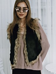 Women's Going out Casual/Daily Work Simple Active Fall Winter Vest Color Block V Neck Sleeveless Short Faux Fur Black Keep Warm