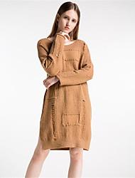 Feminino Longo Pulôver,Casual Simples Sólido Estampado Decote Redondo Manga Longa Lã Algodão Poliéster Outono Inverno Grossa