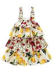 Girl's Floral Print Dress,Cotton Spring Summer Sleeveless