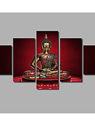 HD Large 5 Panels Framed Religion Portrait Posters For Livingroom Decor Buddha Painting on Canvas Wall Artworks