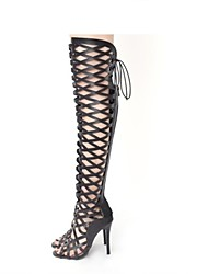 Women's Boots Novelty Gladiator Fashion Boots Summer Fall Customized Materials Leatherette Dress Party & Evening Plaid Zipper Lace-up