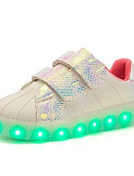 Girls' Sneakers Comfort Novelty Light Up Shoes Fall Winter Synthetic Microfiber PU Casual Outdoor Magic Tape Flat Heel Purple Blushing
