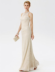 Sheath / Column Illusion Neckline Floor Length Lace Mother of the Bride Dress with Beading Crystal Detailing by LAN TING BRIDE®