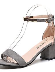 Для женщин Сандалии Для прогулок Удобная обувь Замша Лето Повседневные Блочная пятка Черный Серый 7 - 9,5 см
