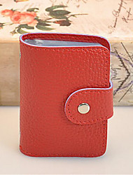 Women Card & ID Holder PVC All Seasons Casual Outdoor Round Zipper Red