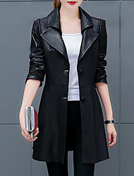 Women's Plus Size Casual/Daily Simple Fall Leather Jacket,Solid Shirt Collar Long Sleeve Long PU