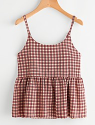 Women's Going out Casual/Daily Cute Street chic Spring Summer Tank Top,Striped Boat Neck Sleeveless Cotton Thin
