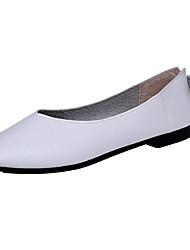 Women's Flats Comfort PU Summer Casual Split Joint Flat Heel Dark Brown Beige White Flat