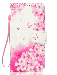 For Samsung Galaxy A5(2017) A3(2017) Phone Case PU Leather Material Pink Flower Pattern 3D Painting Phone Case A510 A310