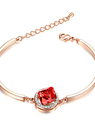 Women's Chain Bracelet AAA Cubic Zirconia Fashion Gold Plated Heart Jewelry For Party Valentine 1pc