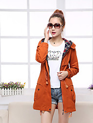 Women's Casual/Daily Simple Spring Fall Trench Coat,Solid Hooded Long Sleeve Long Cotton