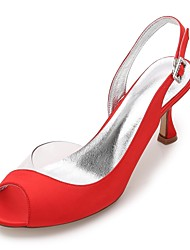 Women's Wedding Shoes Comfort D'Orsay & Two-Piece Basic Pump Transparent Shoe Spring Summer Satin Wedding Dress Party & Evening