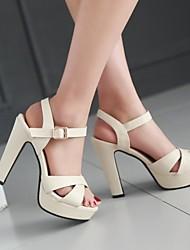 Damen Schuhe PU Frühling Komfort High Heels Stöckelabsatz Peep Toe Mit Für Normal Weiß Schwarz Rosa