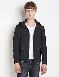 Men's Plus Size Going out Casual/Daily Simple Street chic Fall Winter Jacket,Solid Letter Hooded Long Sleeve Regular Nylon