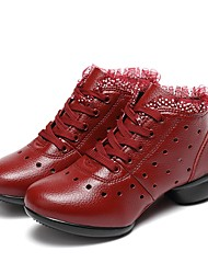 Women's Dance Sneakers Real Leather Sneakers Outdoor Stitching Polka Dots Sided Hollow Out Flat Ruby 1 - 1 3/4 Customizable