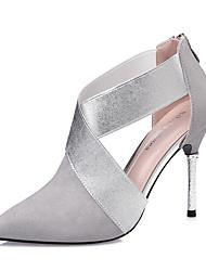 Для женщин Обувь на каблуках Удобная обувь Осень Замша Для праздника Молнии На шпильке Черный Серый Пурпурный Винный 7 - 9,5 см