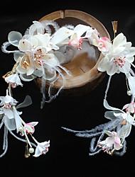 Chiffon Feather Fabric Silk Net Headpiece-Wedding Special Occasion Birthday Party/ Evening Headbands Flowers 1 Piece