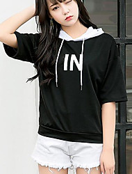 Women's Casual/Daily Simple Summer T-shirt,Print Letter Hooded Short Sleeve Others