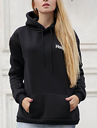 Women's Casual/Daily Simple Sweatshirt Solid Letter Hooded Stretchy Cotton Long Sleeve Fall