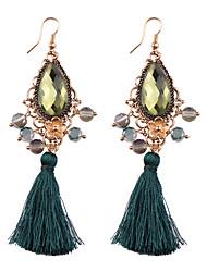 Bohemia Women Drop Stone Flower Fabric Tassel Long Drop Earrings
