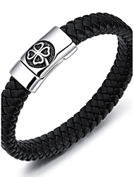 Men's Bracelet Fashion Personalized Hip-Hop Handmade Simple Style Costume Jewelry Titanium Steel PU Circle Geometric Jewelry Jewelry For