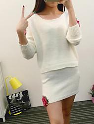 Mujer Simple Casual/Diario Primavera Otoño T-Shirt Falda Trajes,Escote Redondo Floral Manga Larga