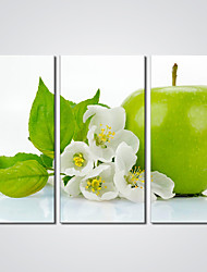 Canvas Print A Green Apple Print Art for Wall Decoration Ready to Hang 30x60cmx3pcs