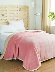 Coral fleece Solid Polyester Cotton Blend Blankets