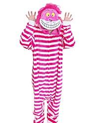 Kigurumi Pijamas Gato Festival/Celebración Ropa de Noche de los Animales Halloween Fucsia Moda Rayas Bordado Franela Disfraces de Cosplay